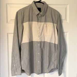 2/$10 Men's grey and off-white flannel shirt